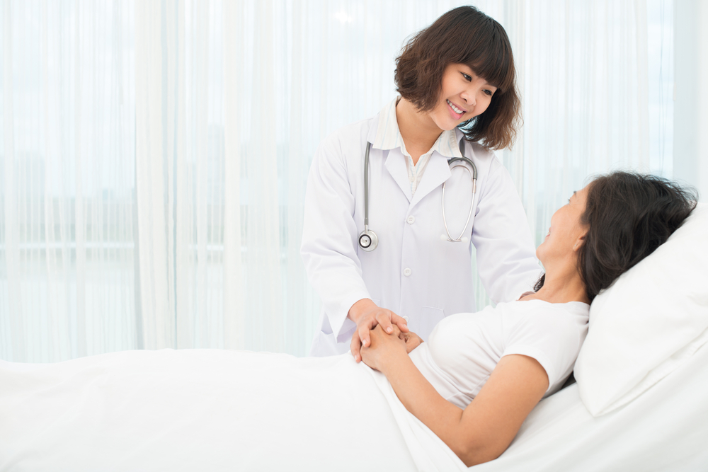 Medical provider with a patient