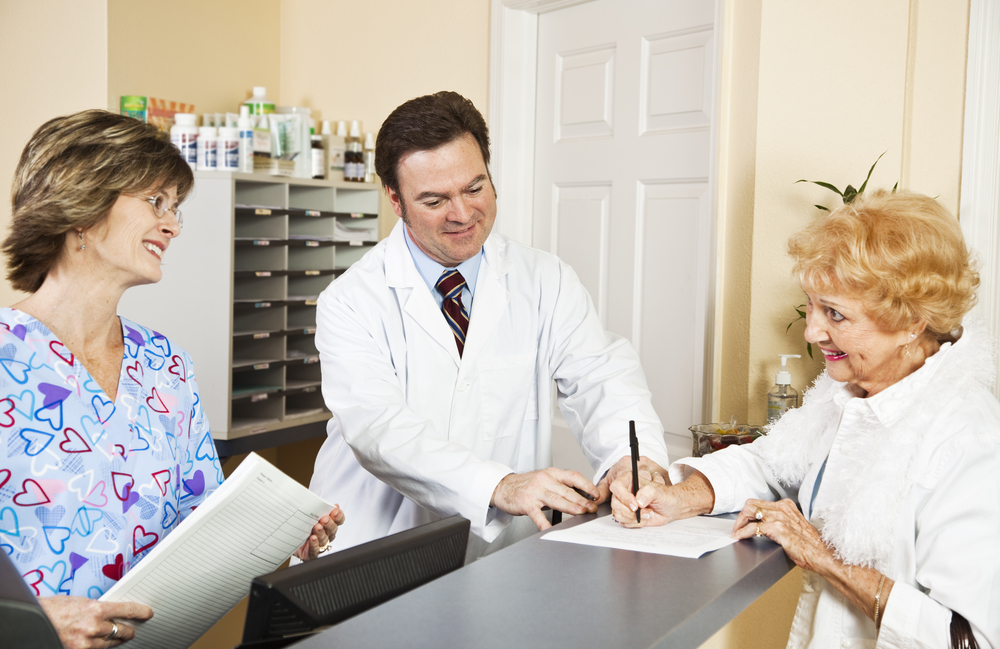 Patient with her doctor
